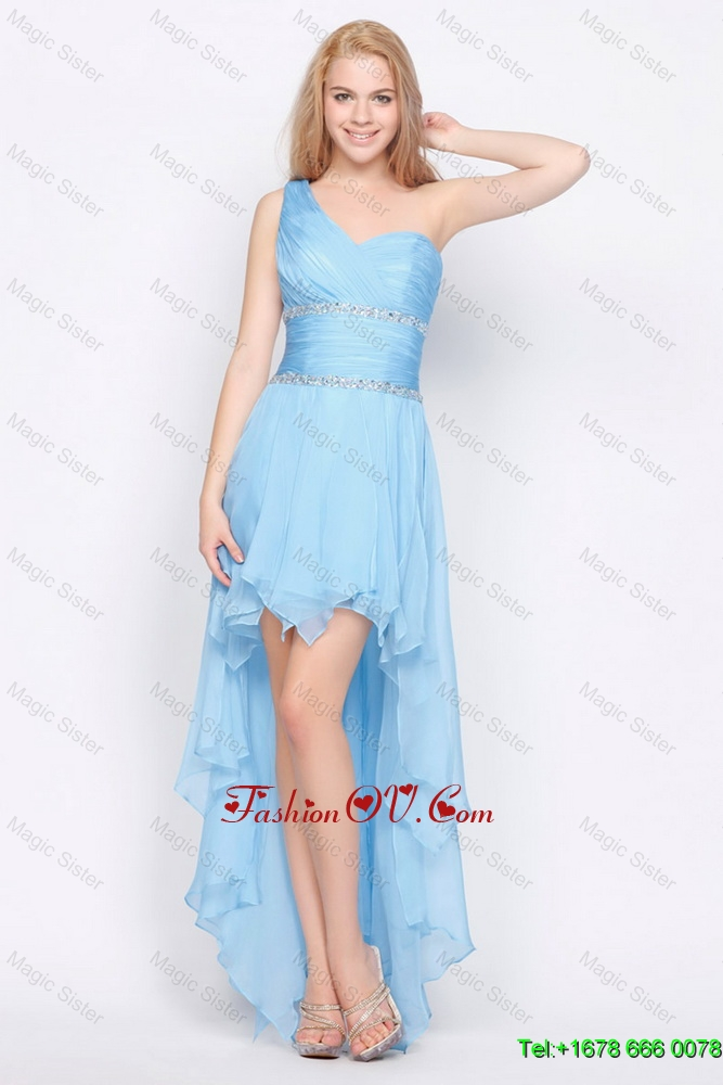 Affordable One Shoulder Beading High Low Prom Dresses in Baby Blue
