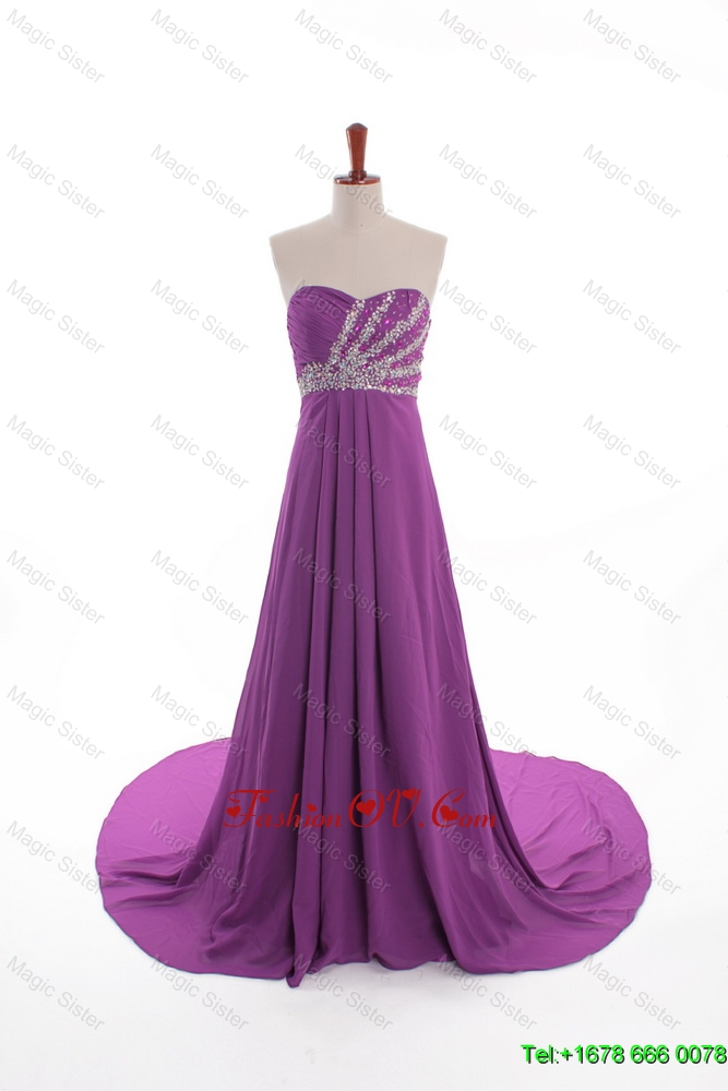 Modest Beaded Court Train Prom Dresses in Eggplant Purple