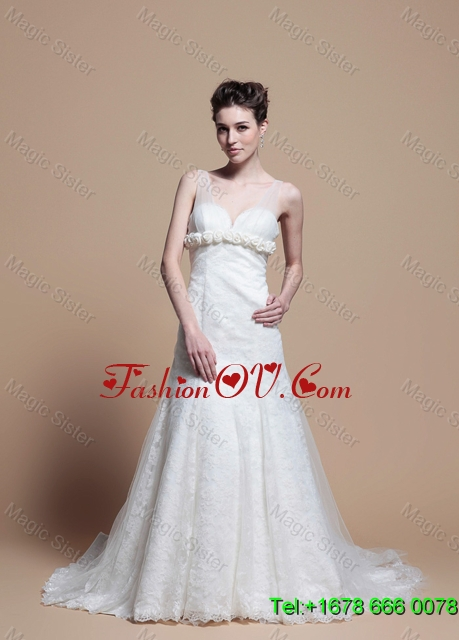 Custom Made Lace A Line Wedding Dresses with Hand Made Flowers