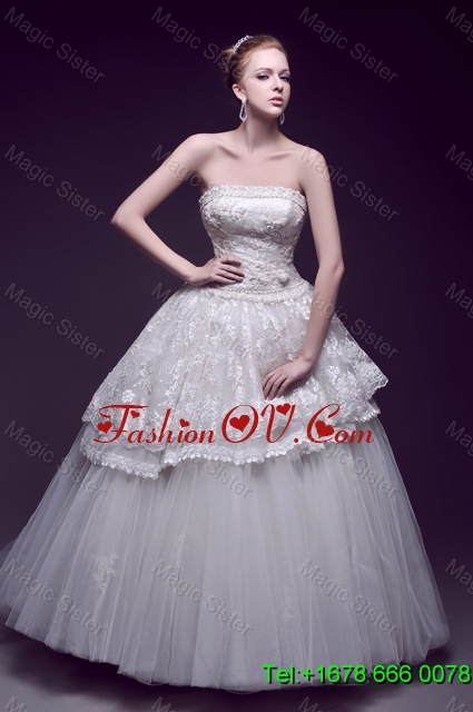 Luxurious Appliques Ball Gown Wedding Dresses with Brush Train