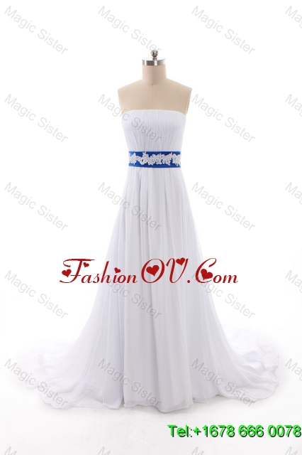 Perfect Empire Strapless Wedding Dresses with Belt and Bowknot