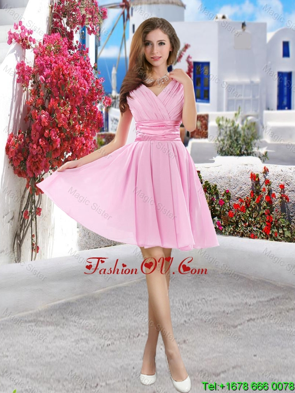 New Style 2016 Pink prom Dresses with Belt