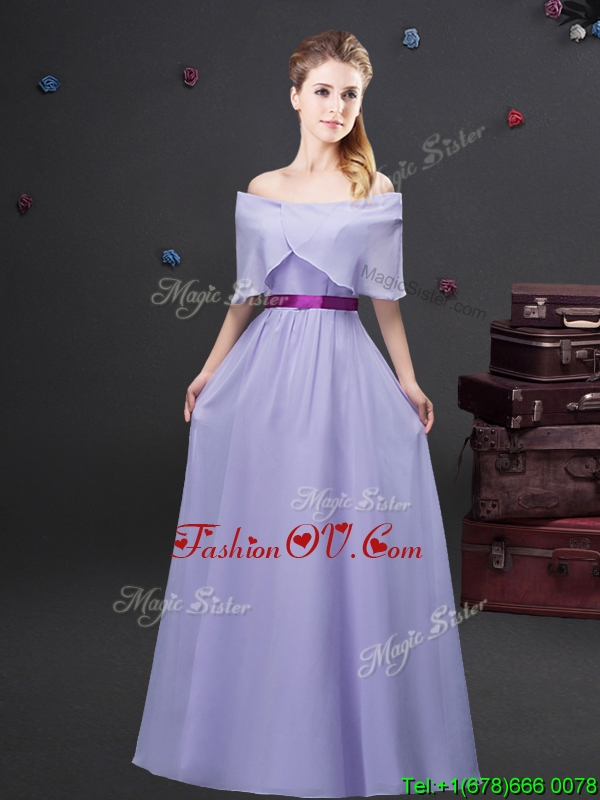 Simple Off the Shoulder Lavender Long Dama Dress in Chiffon