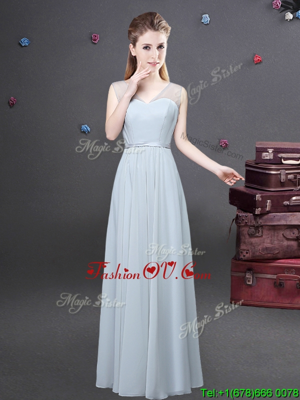 Traditional Empire V Neck Ruched Dama Dress in Grey