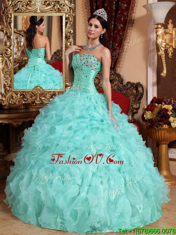 Lovely Apple Green Sweetheart Beading and Ruffles Sweet Sixteen Dresses