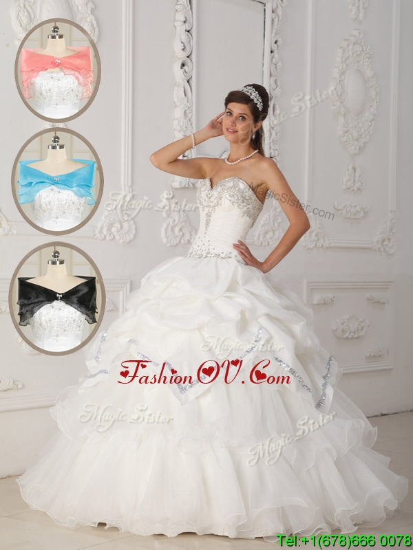 Luxurious White Ball Gown Sweetheart Sweet Sixteen Dresses