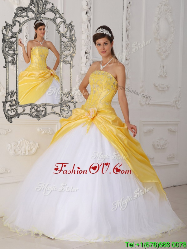 Modest Hand Made Flower Sweet Sixteen Dresses in Yellow and White