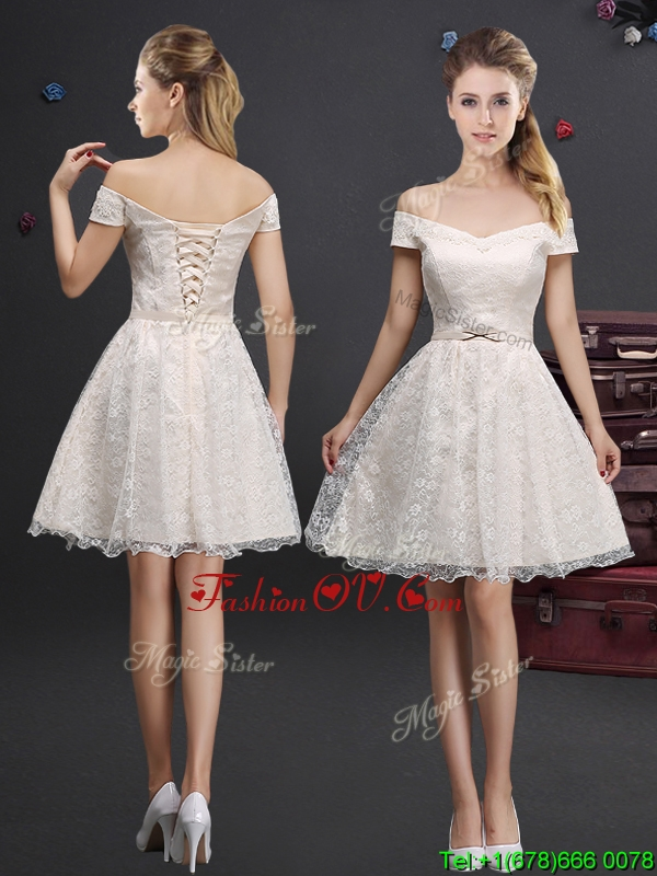 Pretty Applique and Laced Champagne Prom Dress in Knee Length