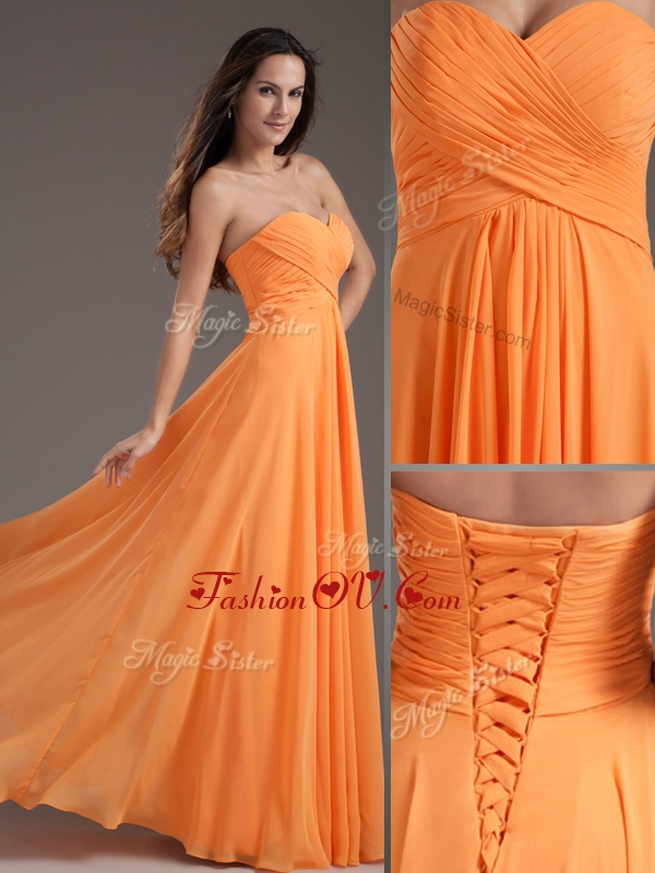2016 Low Price Sweetheart Floor Length Ruching Evening Dress in Orange