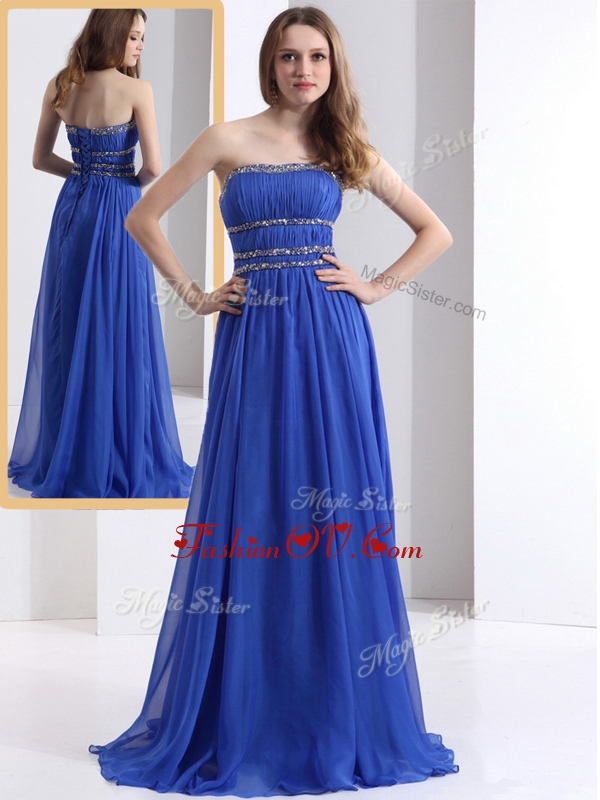 2016 Simple Strapless Empire Blue Evening Dresses with Ruching and Beading