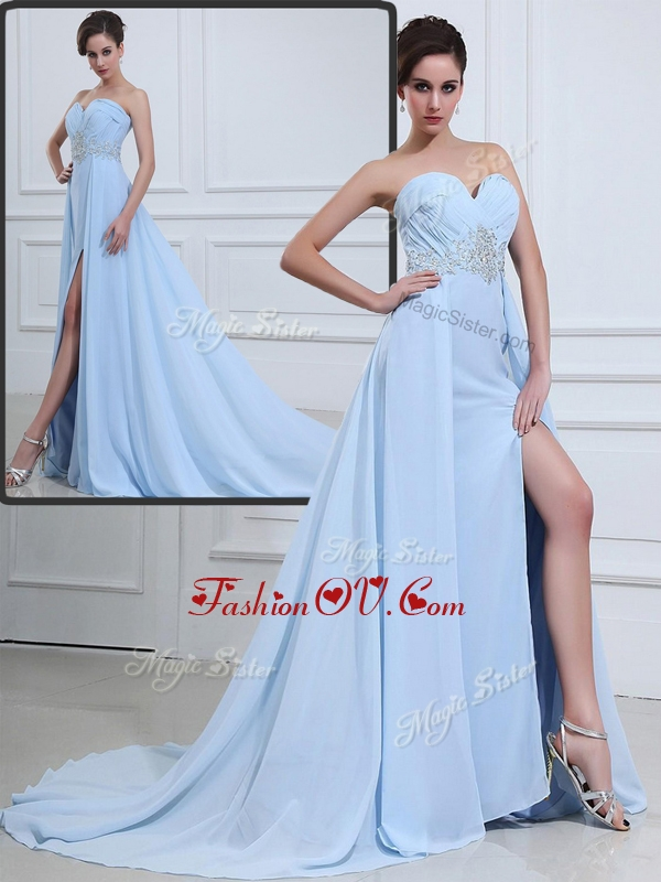 2016 The Super Hot Brush Train Sweetheart Beading Evening Dresses in Light Blue
