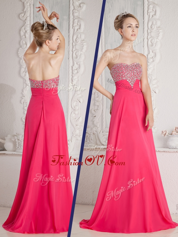 Romantic Empire Sweetheart Beading Evening Dresses in Coral Red