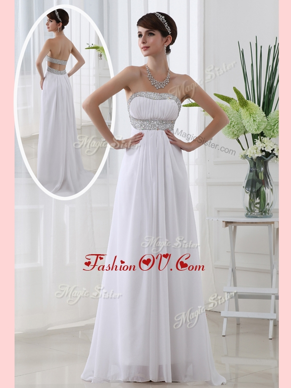 2016 Affordable Strapless Brush Train Beading Homecoming Dress in White