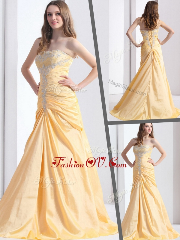 2016 Exclusive Brush Train Strapless Column Homecoming Dresses with Beading
