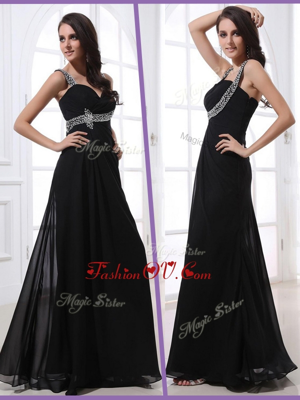 2016 Low Price Straps Empire Beading Homecoming Dresses in Black