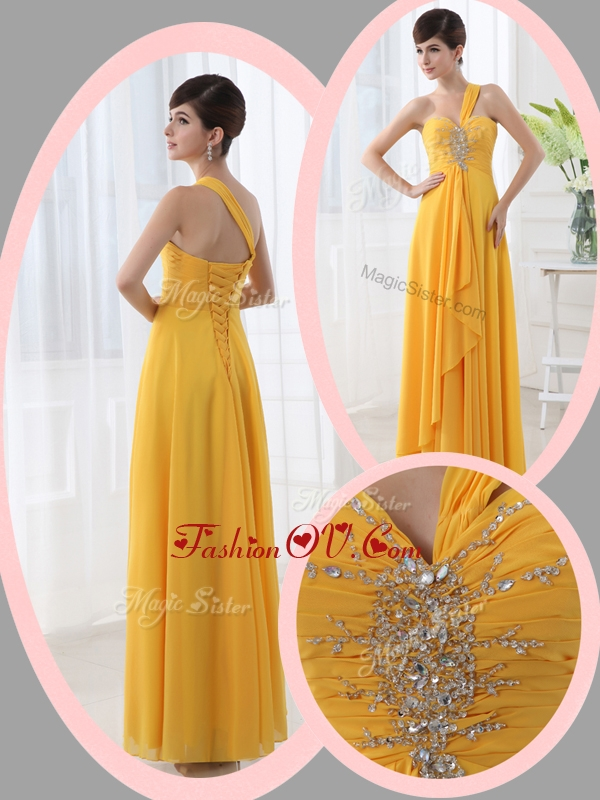 2016 Most Popular Empire One Shoulder Beading Orange Prom Dresses for Holiday