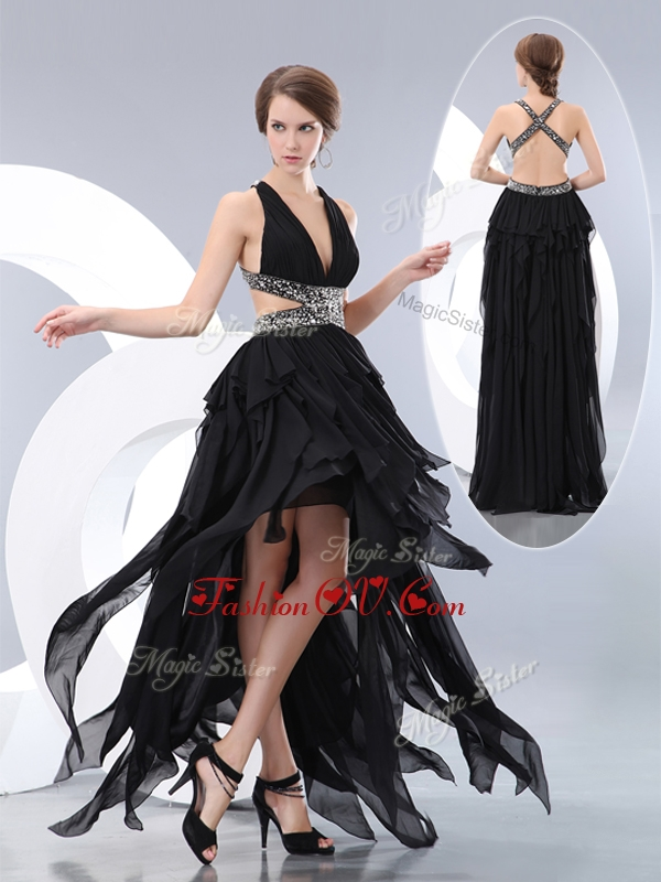 2016 New Style V Neck High Low Homecoming Dresses in Black