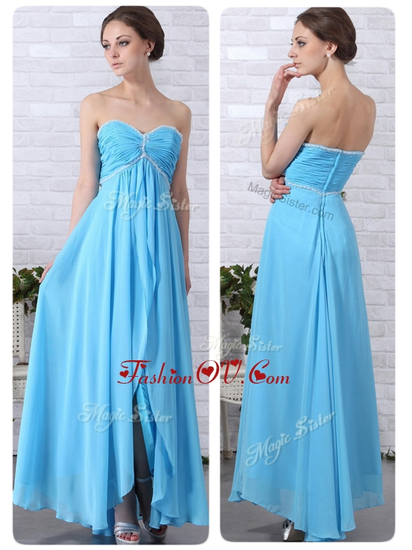 2016 Pretty Empire Sweetheart Slit Homecoming Dresses in Aqua Blue
