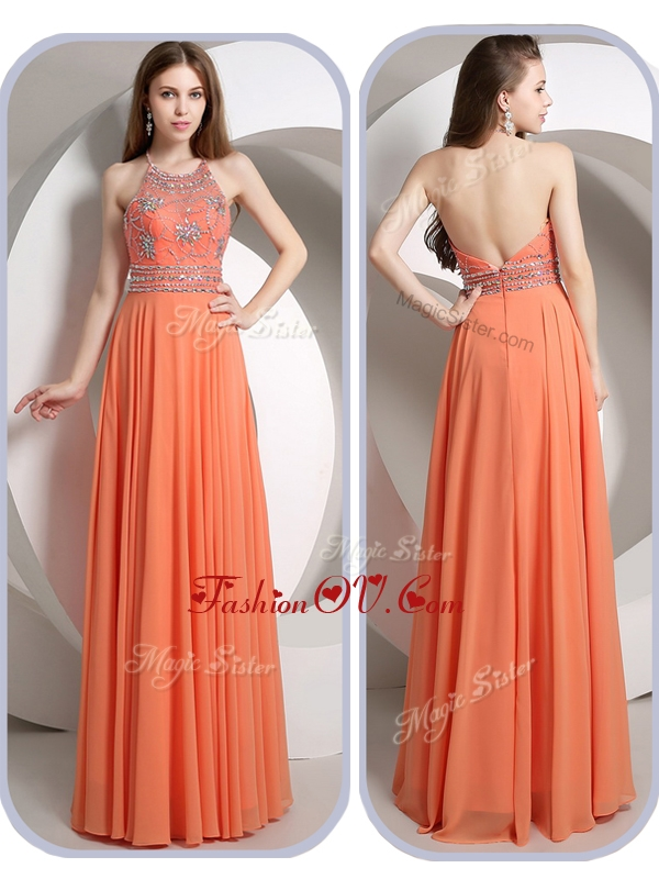 2016 Romantic Empire Halter Top Orange Homecoming Dresses with Beading