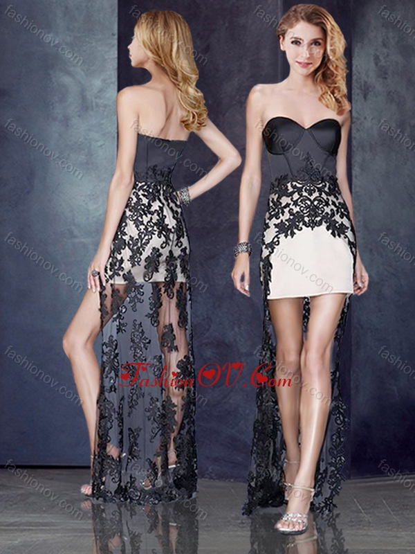 2016 High Low Black and Champagne Prom Dress with Lace
