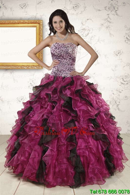 2015 New Style Sweetheart Ruffles Quinceanera Dresses in Multi-color