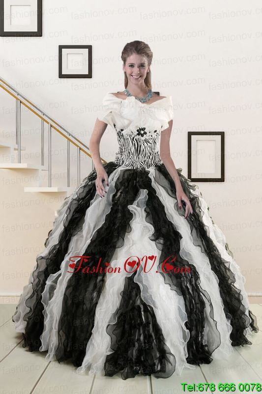 2015 Exclusive Multi Color Quinceanera Dresses with Zebra and Ruffles