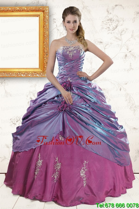 2015 Multi Color Appliques Quinceanera Dresses with Strapless