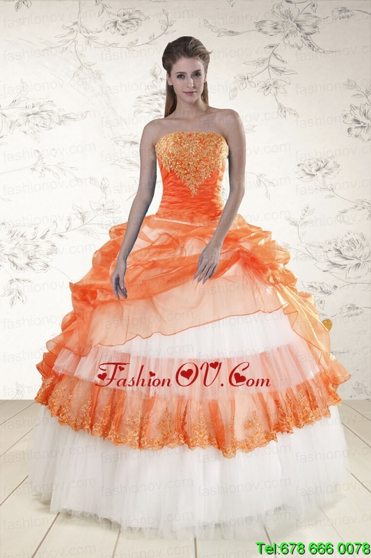 Multi Color Strapless Appliques and Beaded Quinceanera Dresses