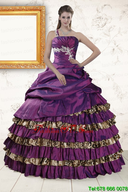 Print One Shoulder Quinceanera Dresses with Beading and Leopard