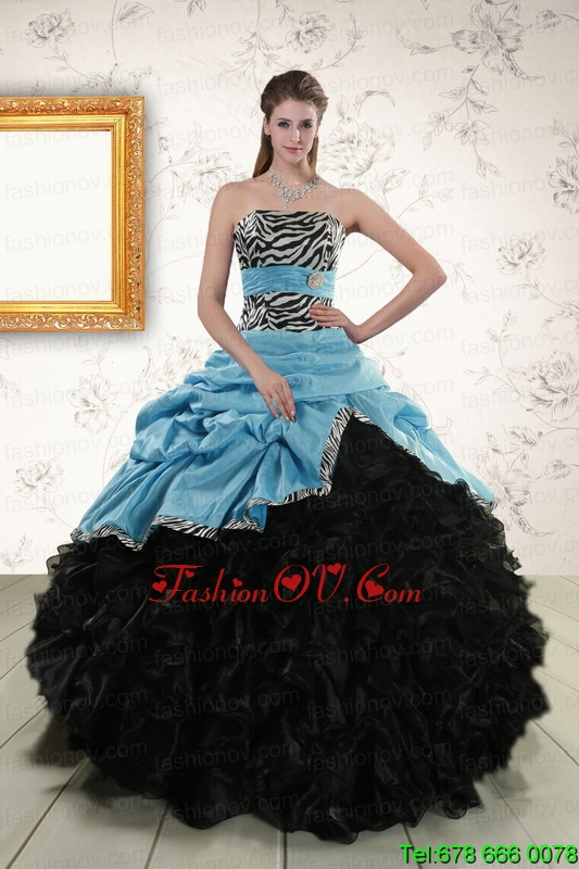 Print Ruffles 2015 Quinceanera Dresses with Zebra and Belt