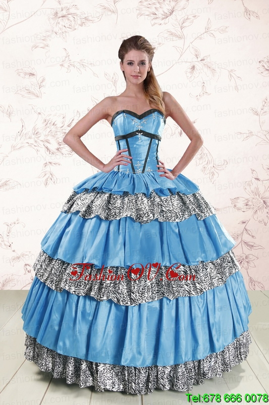 Print Sweetheart Ball Gown Beading Quinceanera Dresses for 2015