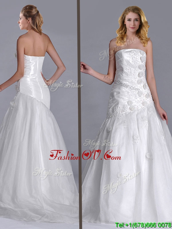 2016 Popular Column Brush Train Bridal Dress with Beading and Hand Crafted