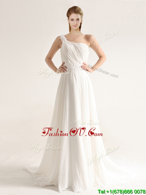 Elegant One Shoulder Court Train Wedding Dresses with Beading and Ruching