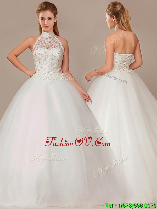 2016 Fashionable Ball Gown High Neck Wedding Dresses with Beading and Appliques