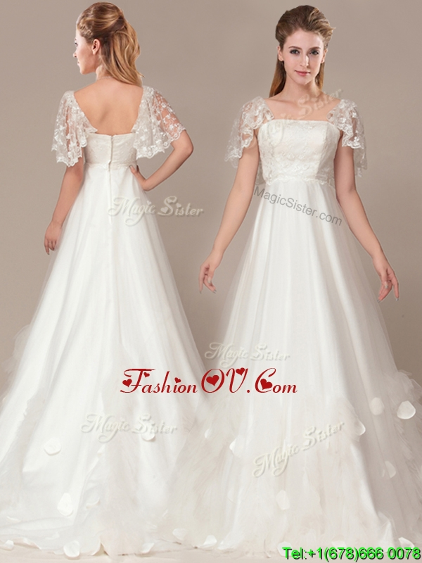Beautiful Square Laced and Applique 2016 Wedding Dresses with Brush Train