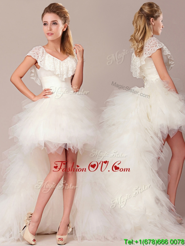 Plus Size Fashionable High Low Detachable Wedding Dresses with Lace and Ruffles