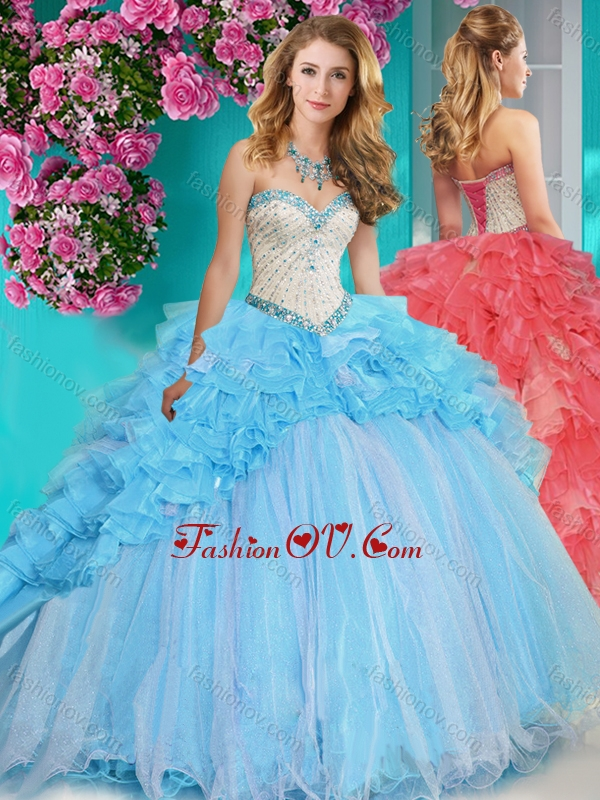 Exclusive Beaded and Ruffled Big Puffy Quinceanera Dress with Brush Train