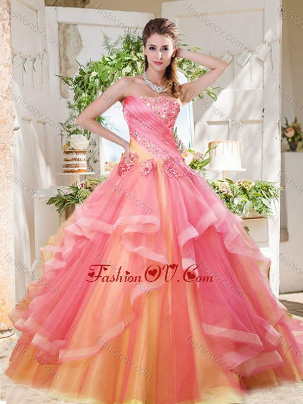 Fashionable Rainbow Big Puffy Best Quinceanera Dresses with Ruffles Layers and Beading