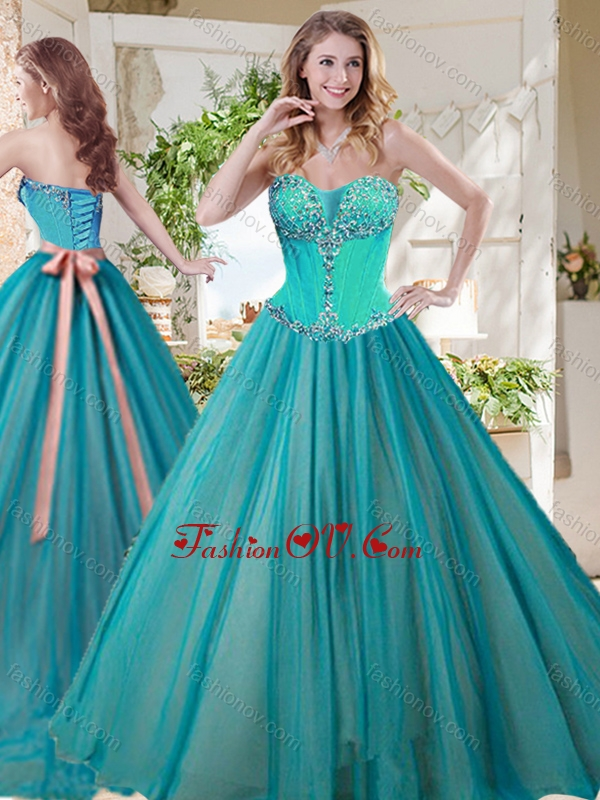 Gorgeous A Line Brush Train Best Quinceanera Dresses with Beading and Sash