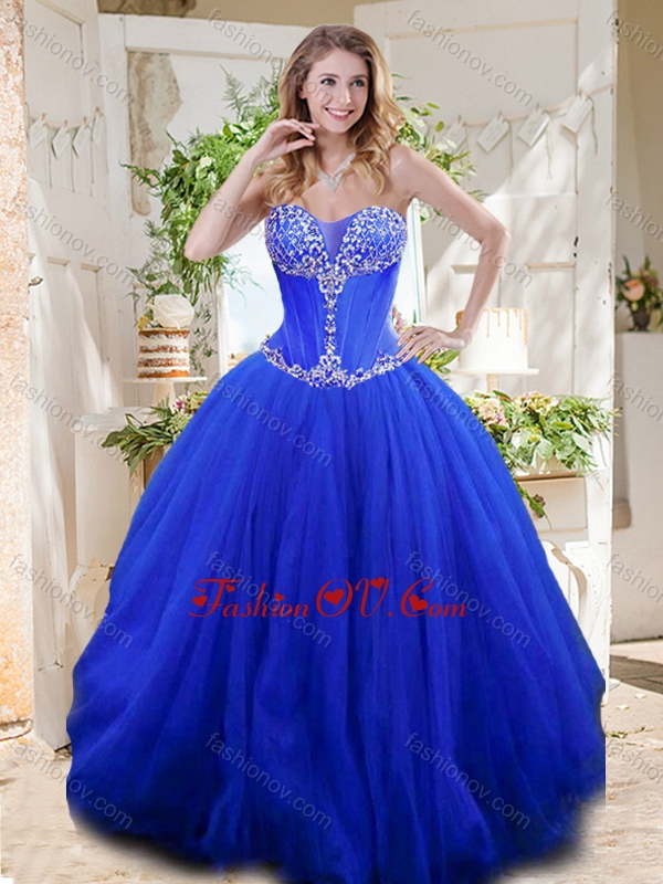 New Style See Through Sweetheart Blue Best Quinceanera Dresses with Beading