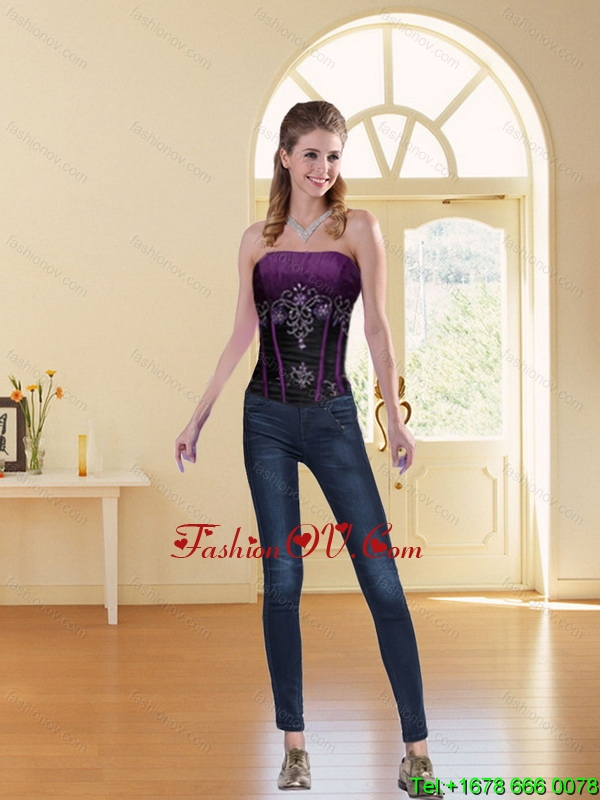 2015 New Style Multi Color Strapless Corset with Beading