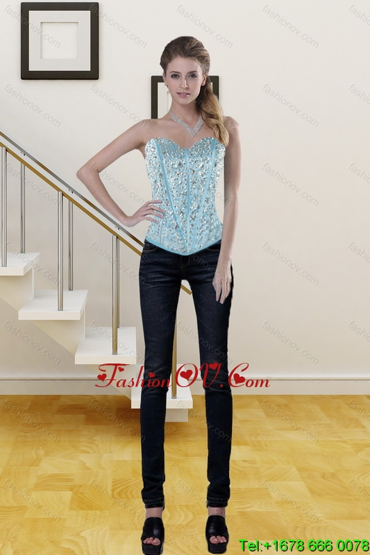 Cute Baby Blue Sweetheart Corset Dresses with Ruffles and Beading