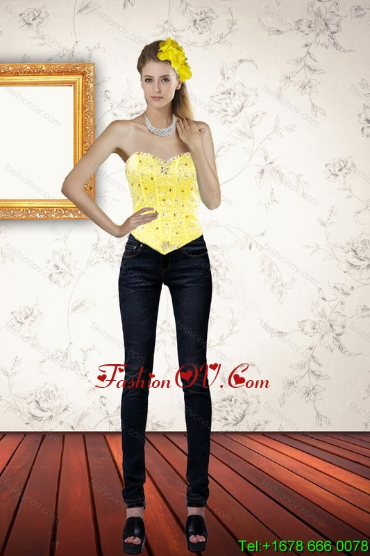 Cute Sweetheart Beaded and Ruffled Yellow Corset for 2015