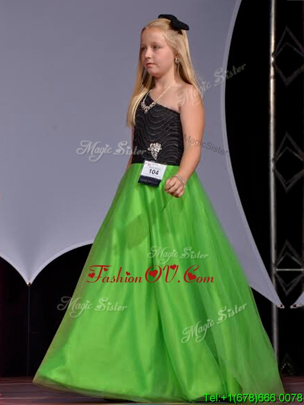 Lovely One Shoulder Little Girl Pageant Dress with Beading