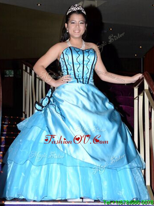 Luxurious A Line Aqua Blue Quinceanera Dress with Appliques and Hand Made Flowers