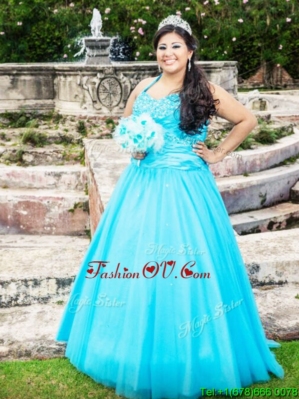 New Style Baby Blue Floor Length Quinceanera Dress with Beading