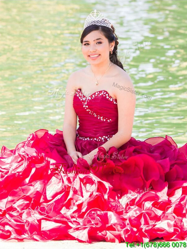 Top Selling Wine Red Really Puffy Quinceanera Dress with Beading and Ruffles
