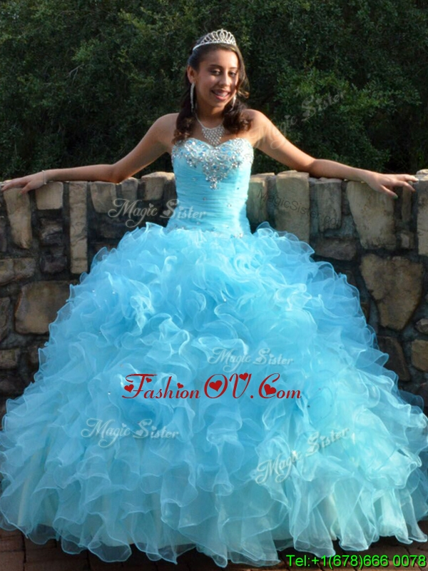 Most Popular Beaded and Ruffled Big Puffy Quinceanera Dress in Baby Blue