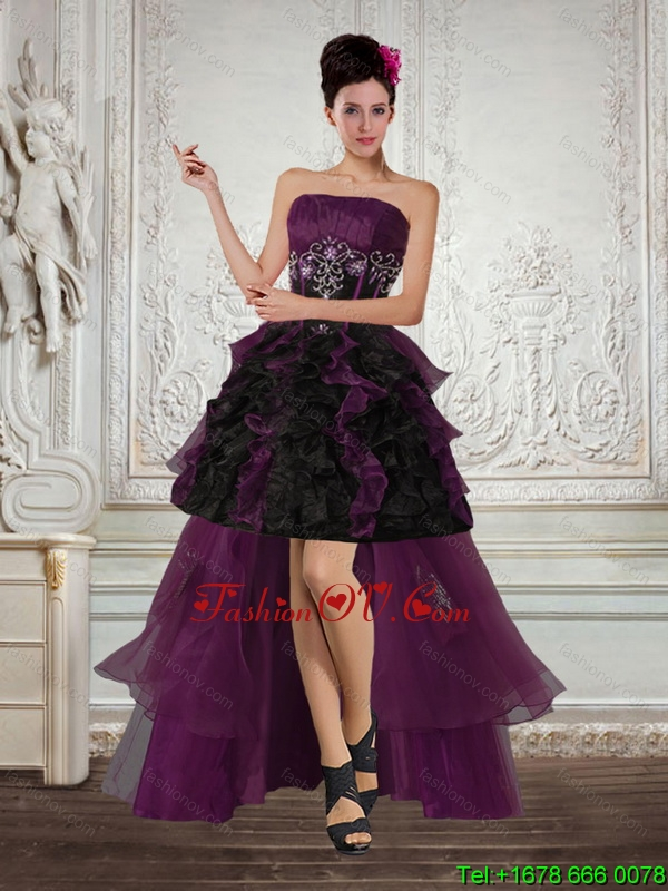 High Low Multi Color Strapless Prom Dresses with Ruffles and Embroidery
