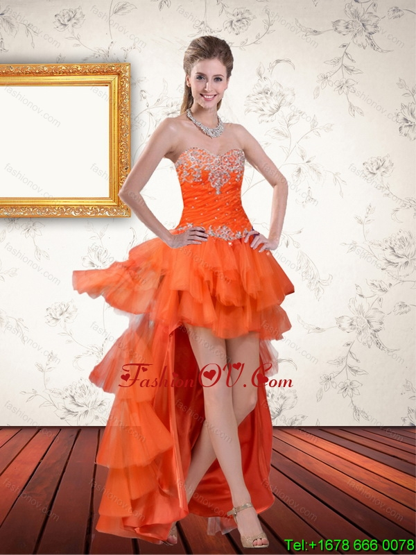 High Low Sweetheart Orange Prom Dresses with Ruffles and Beading
